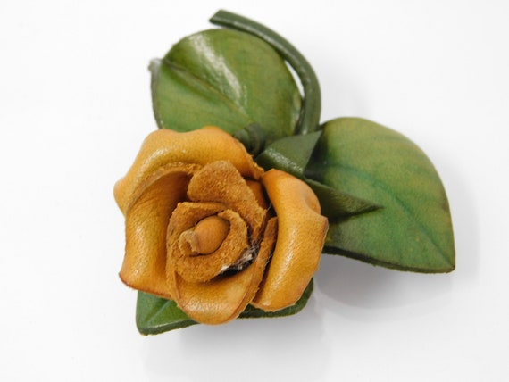 vintage leather rose brooch