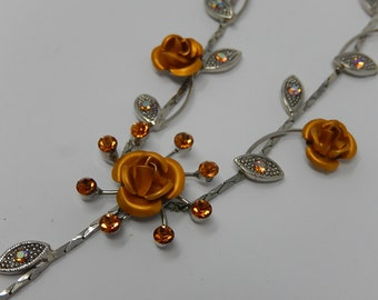 Designer necklace with rosebuds, silver metal, free shipping