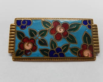 Old brooch cloisonne of China, free shipping