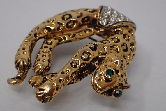 vintage bronze panther brooch