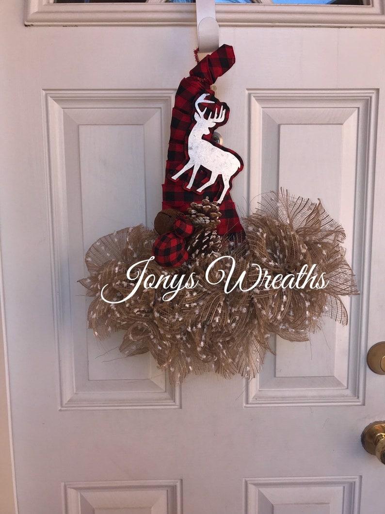 Christmas hat wreath plaid wreath winter wreath deco mesh wreath front door wreath deer w christmas wreath christmas deco mesh wreath