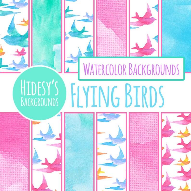 Watercolor Digital Paper / Watercolor Flying Birds Digital Paper for  Scrapbooking etc (Commercial Use)