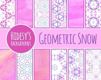 Watercolor Digital Paper // Water Color Digital Paper // Water Color Digital Snow Geometric Scrapbooking Paper // Winter Theme