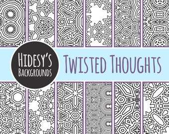 Twisted Geometric Adult Coloring Book Patterns / Detailed Colouring In Pages for Scrapbooking or Craft