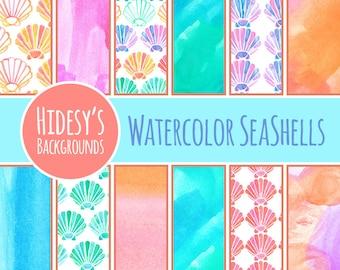 Watercolor Digital Paper // Water Color Digital Paper // Watercolour Sea Shells Scrapbooking Paper // Digital Scrapbooking Paper Beach Theme