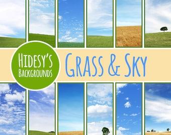 Grass and Sky Digital Paper // Landscapes Digital Scrapbooking Paper // Fields or Pastures Digital Scrapbook Paper