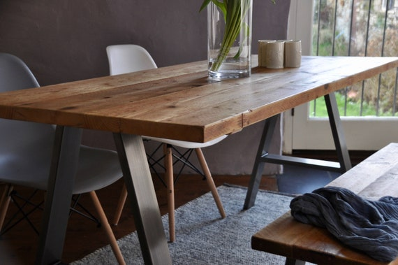 Industrial Dining Table Reclaimed Wood on Steel legs Rustic Custom Kitchen  Table Vintage Scaffold board Furniture Bespoke sizes and colours