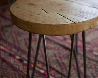 Stool Industrial Reclaimed wood Rustic Modern Bespoke Furniture Hairpin Legs Dining Kitchen Stool