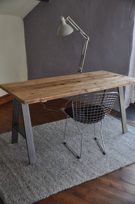 Desk Industrial Reclaimed Wood Table Custom Made On A Frame Etsy