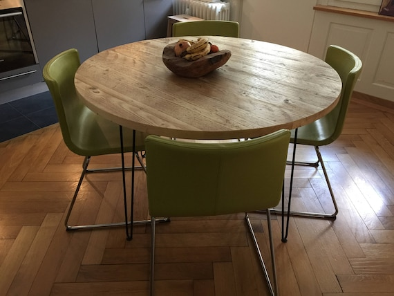Reclaimed Round Dining Table Industrial Solid Wood Hairpin Etsy