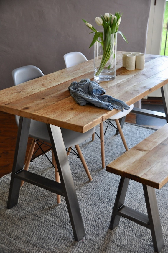 Dining Table & Bench Reclaimed Industrial Rustic Custom A FRAME Steel legs Bespoke Dining set Vintage Scaffold Board Table Furniture