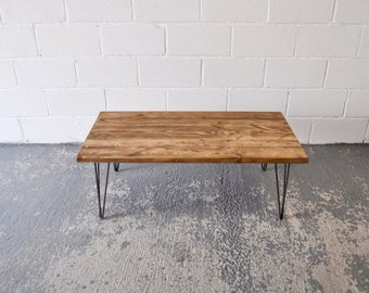 Industrial Rustic Coffee Table from Authentic Reclaimed wood and British Steel Hairpin legs - Chic Sustainable Simple Unique