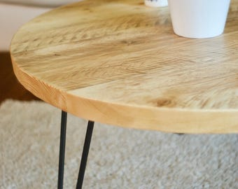 Industrial Coffee Table Round on Hairpin legs Custom Made with Reclaimed Rustic Solid Wood Scaffold Board Furniture Steel Bespoke Table