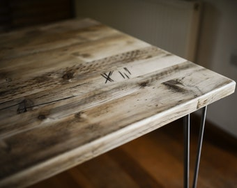 RUSTIKA Dining Table, Authentic Reclaimed Wood on Industrial Hairpin legs, Customisable