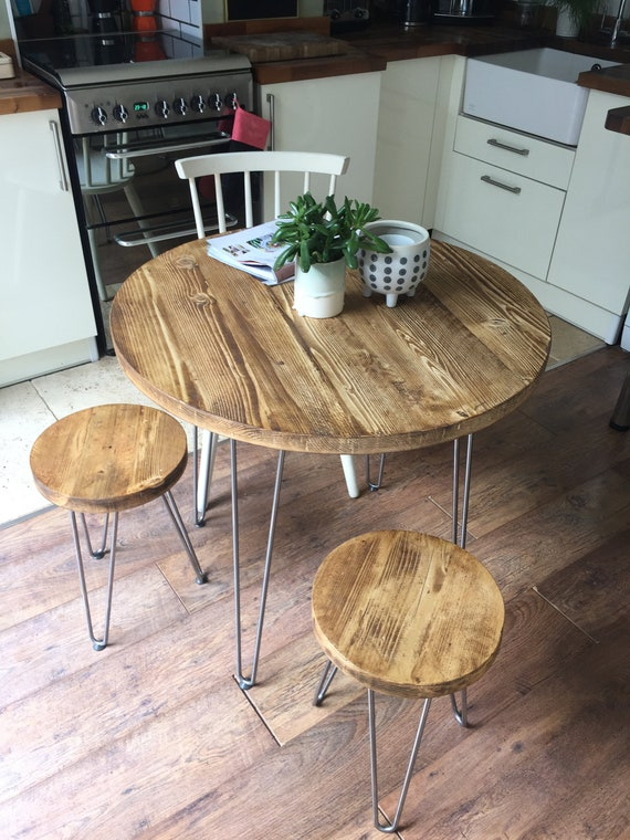 Reclaimed Round Dining Table Set on Hairpin legs Industrial Rustic Kitchen  Table & Stools Vintage Scaffold Furniture Home Interior Design