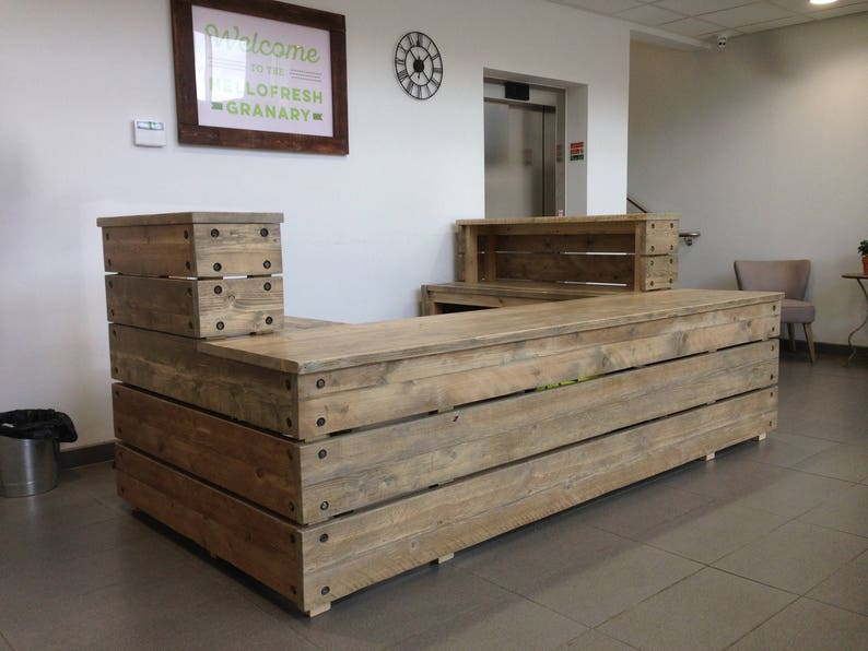 64e9958ec7767 Reception desk Industrial Reclaimed Wood scaffold board Custom