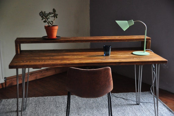 Industrial Desk With Monitor Stand Reclaimed Wood On Hairpin Etsy