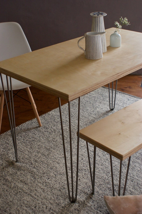 Dining Table Bench Industrial Hairpin Legs Custom Plywood Etsy