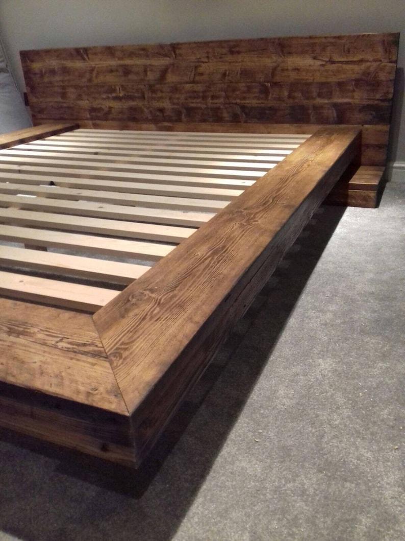 59156484c68 Bed platform reclaimed industrial rustic wood Custom made