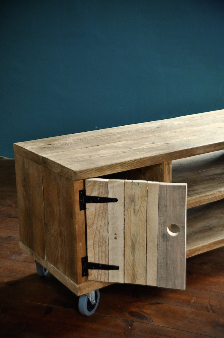 Reclaimed wood Sideboard Rustic Industrial TV Media Stand Etsy
