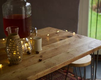 Dining Set Table, Bench & Stool, Reclaimed Industrial Custom, Rustic Solid Wood top on Retro Hairpin legs, FREE PERSONALISATION