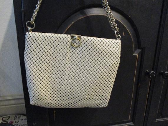 Whiting and Davis Vintage White Handbag