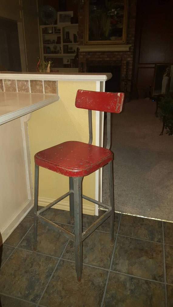 Astonishing 1940S 1960S Vintage Industrial Stool Industrial Furniture Vintage Steel Stool Antique Architect Stool Lab Stool Office Chair Machost Co Dining Chair Design Ideas Machostcouk