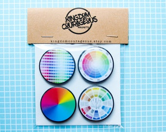 Fridge Magnets for Artists Color Theory Color Wheel Favorite Color Graphic Designer Painter Magnet Office Decor Gifts Under 20 Rainbow Gift
