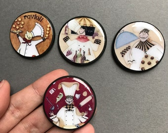 Fat Chef Magnet Set Kitchen Decor Bon Apetit Magnets Gifts for Chefs I Love Cooking Italian French Decor
