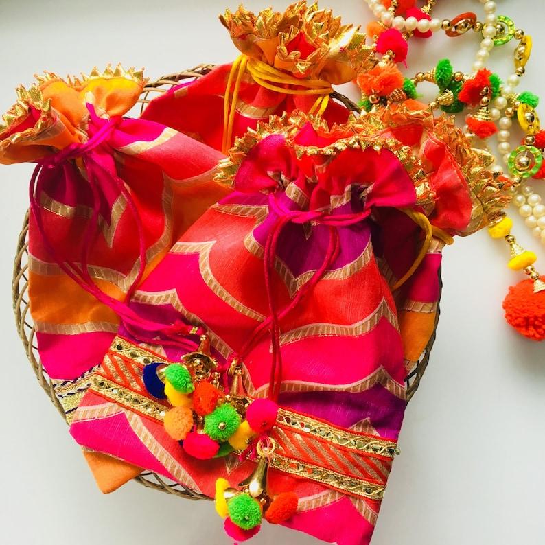 10 Indian Return Gift Bags For Guest Bollywood Wedding Potli Etsy