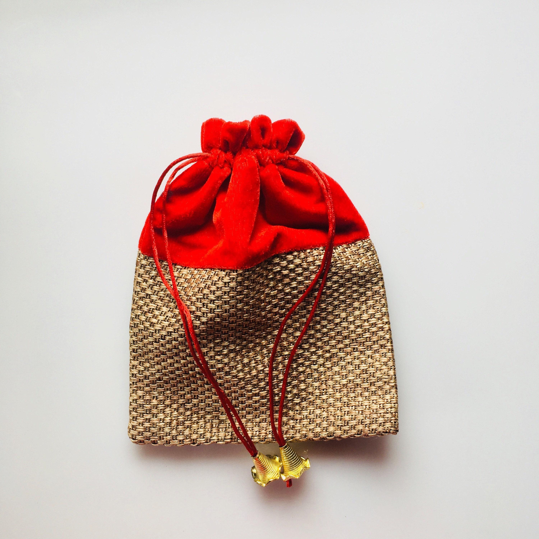 Send Wedding Gift To India: 12 Indian Potli Bag Wedding Return Gift Favor Bag Jute