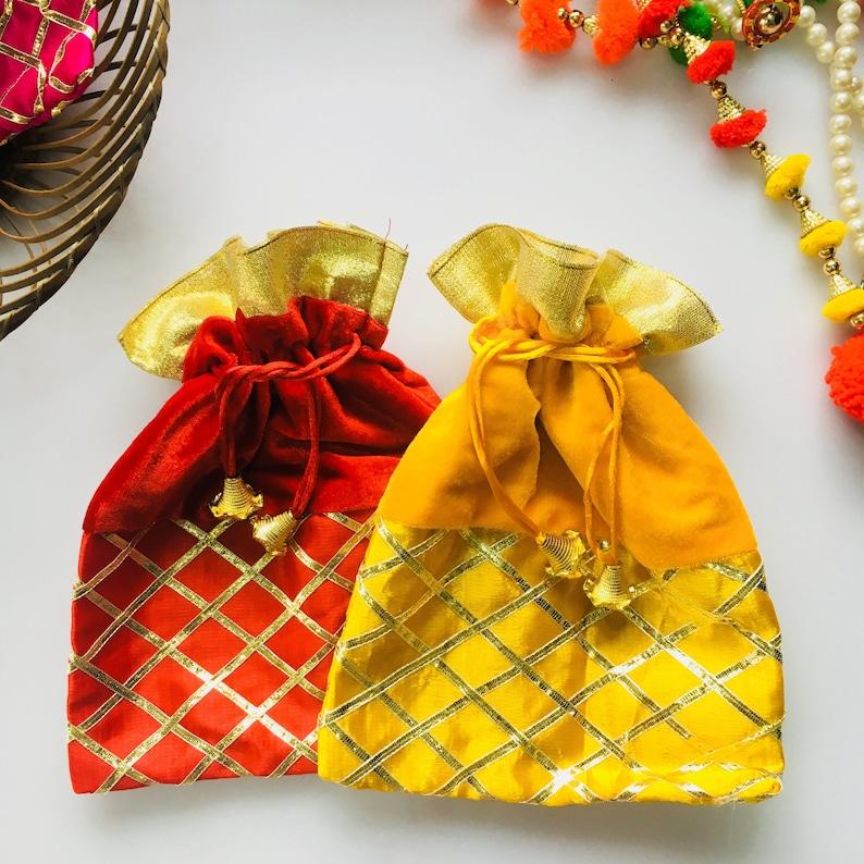 12 Sac Cadeau En Faveurs Mariage Indien Potli Sacs Bijoux Sacs Sacs Cadeaux De Retour Cadeaux De Fête Mehendi Faveur Sacs Cadeaux Diwali