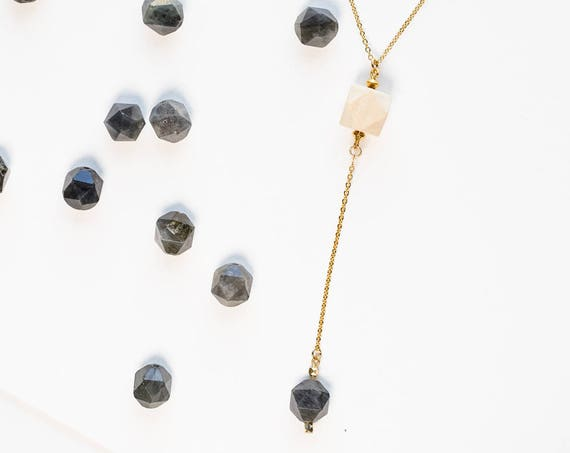 AUDREY Gemstone Drop Diffuser Necklace (Gold)