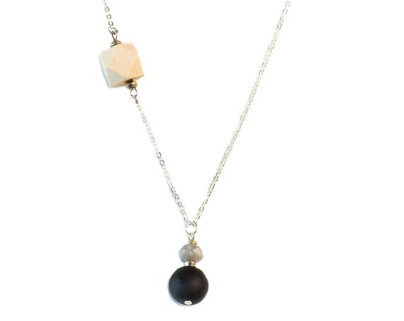 MELANIE Gemstone, Black Agate & Wood Diffuser Drop Necklace(Silver)