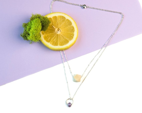 EMILY Layered Gemstone Circle & Wood Diffuser Necklace (Silver)