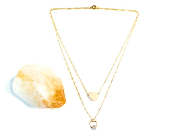 EMILY Layered Gemstone Circle & Wood Diffuser Necklace (Gold)