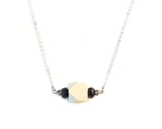AMELIA Gemstone, Pyrite & Wood Bar Diffuser Necklace (Silver)