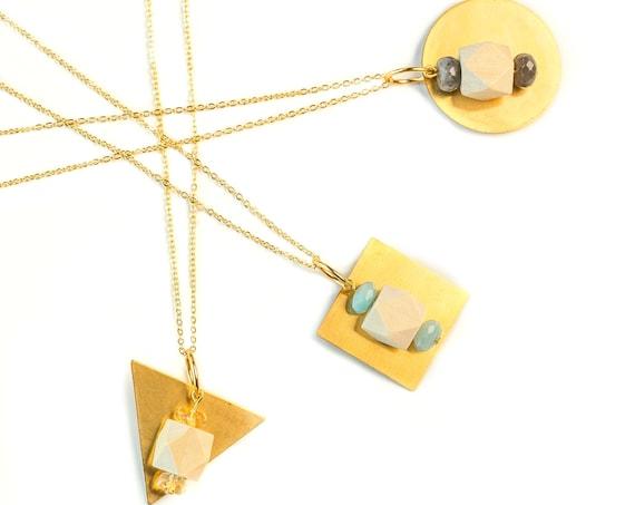HARPER Geometric Gemstones, Wood & Brass Pendant Diffuser Necklace