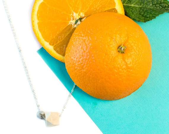 MOLLY Gemstone & Wood Diffuser Necklace (Silver)