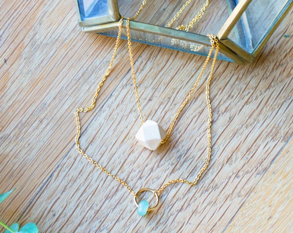 Layered Gemstone Circle Diffuser Necklace with Oil Blend Combo (Gold)