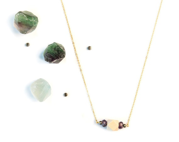 AMELIA Gemstone, Pyrite & Wood Bar Diffuser Necklace (Gold)