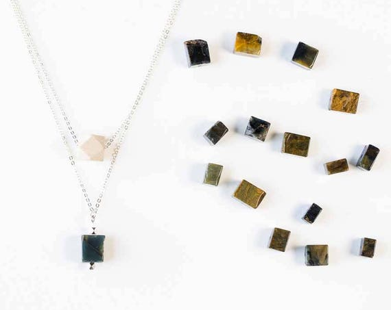 ELLA Layered Gemstone Diffuser Necklace (Silver)