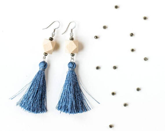 Pyrite Tassel Diffuser Earrings (Silver)