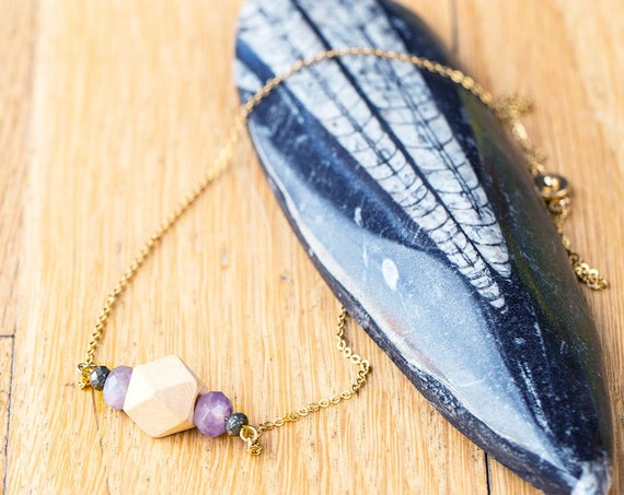 Gemstone & Pyrite Bar Diffuser Necklace with Oil Blend Combo (Gold)