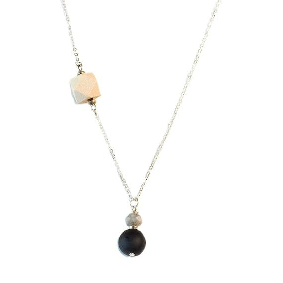 MELANIE Gemstone, Black Agate & Wood Diffuser Drop Necklace(Silver)