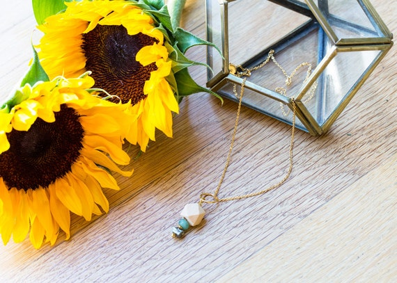 Druzy Pyrite & Gemstone Pendant Diffuser Necklace (Gold)
