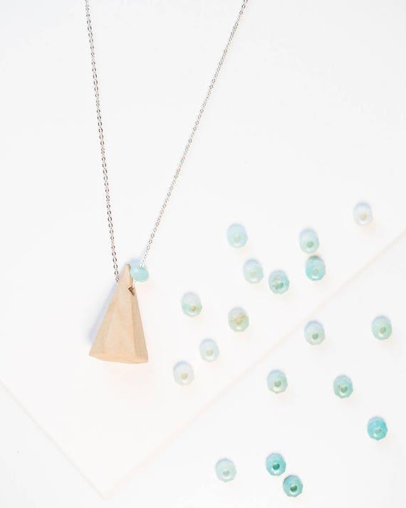 Mountain Gemstone Diffuser Necklace (Silver)