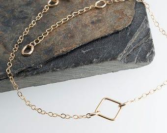 Chain Square Charm Bracelet, Square Charm Bracelet, Gold Bracelet, Minimalist Bracelet, Gold Bar Bracelet, Handmade Bracelet, Gift