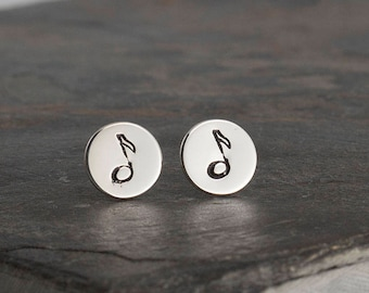 Music Note Studs, Small Earrings, Minimalist Geometric Earrings, Silver Studs, Note Stamp Studs, Small Earrings, Stud Earrings, 8mm