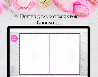 Minimalist 5 subject tabbed Goodnotes notebook, Dotted digital notebook with five hyperlinked tabs, two pages per view - instant download